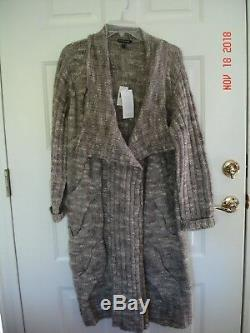 Eileen Fisher NWTS cable knit alpaca sweater coat, size L could also fit XL