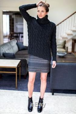 Emerson Fry Charcoal Gray Wool Big Cable Cable knit Turtleneck Sweater Sz S