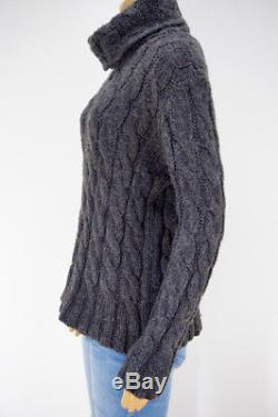 Emerson Fry Charcoal Gray Wool Big Cable Cableknit Turtleneck Sweater Sz S