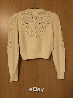 Emmy Peggy Sue Womens Cardigan Cream Wool Size S/6/8/10 Cable Knit New Retro