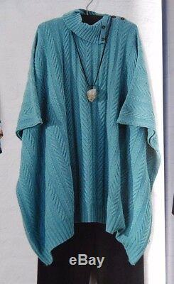 Eskandar MARINE PALE Cashmere Multi-Cable Knit Neck Buttoning Poncho O/S $3295