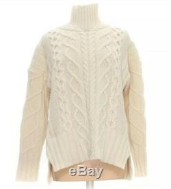 Everlane Wool Cashmere Ivory Cream Chunky Cable Knit Turtleneck Sweater M NWT