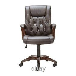 Executive Desk Office Computer Chair Leather Rolling High Back Heavy Duty Brown
