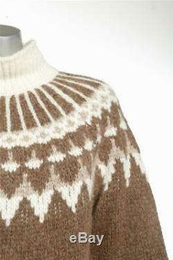 FRAME Womens Brown + Cream Print Soft Cable Knit Turtleneck Sweater M NEW