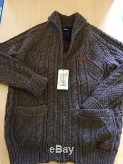 FRED PERRY Mens Chestnut Brown ARAN Cable Knit Zip-Up LAMBSWOOL Cardigan BNWT L