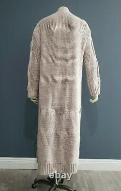 FREE PEOPLE beige white oversized maxi long cable knit open cardigan sweater S