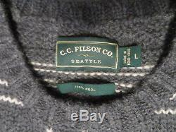 Filson Cable knit heavy 100% wool Nordic Sweater, Mens L, A+ pre-owned Charcoal