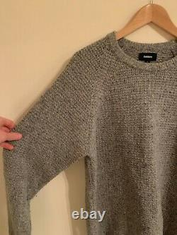 Finisterre Grey Cable Knit Jumper Size Medium / Large Merino Wool Chunky M L