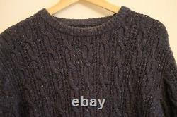 Finisterre Mens Merino wool Fisherman's Cable knit jumper rare blue Large