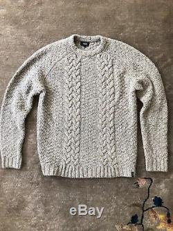 Finisterre Westray Cable Knit Wool Fishermans Sweater. Surf