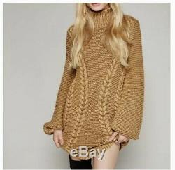 Free People Back To Back Oversized Cable Knit Tan Taupe Beige Sweater Dress Sz M