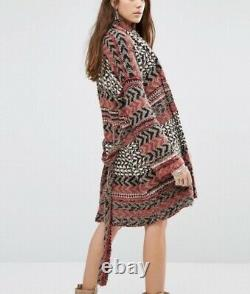 Free People Iona Longline Belted Cardigan Sweater Charcoal Combo Size M