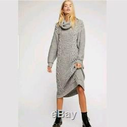 Free People Perfect Cowl Neck Sweater Dress M Medium Alpaca Cable Knit Grey Long