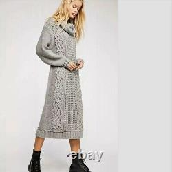 Free People Perfect Cowl Neck Sweater Dress Small S Alpaca Cable Knit Grey Long