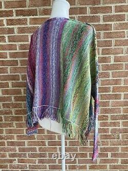 Free People Radiate Pullover Sweater Poncho Knit Top Rainbow Brite Size XS NWT