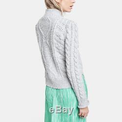 G. Label Goop Caitlin cashmere wool cable knit turtleneck sweater in grey xs