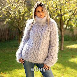 GRAY Hand Knit Mohair Sweater Fluffy Cable Knit Handmade Pullover EXTRAVAGANTZA
