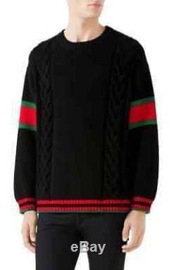 GUCCI Cable Knit Wool Crewneck Sweater Black SZ SMALL $980.00