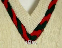 GUCCI Vintage Ivory Wool Red Green Web Trim Cable Knit V-Neck Sweater 50