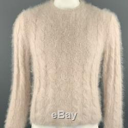 GUCCI by TOM FORD Size L Rose Cable Knit Angora Pullover Sweater