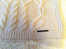 GUCCI chunky ivory white cashmere wool cable knit crew neck jumper S 42 780$