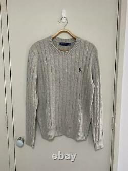 Genuine Ralph lauren cable knit cotton jumper sweater in heather grey size L