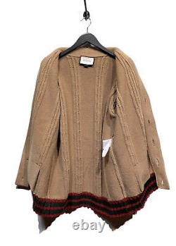 Gucci Beige Cable Knit Cardigan With Web Bottom Size XL