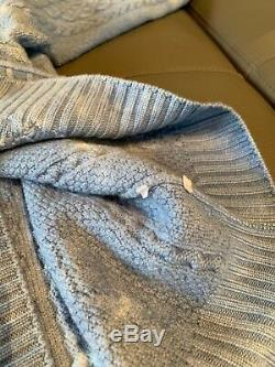 Gucci Bleached Tie-Dye Blue Cable Knit Sweater