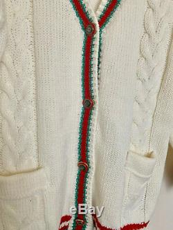 Gucci Cardigan Oversize Cable Knit Beige Color size M