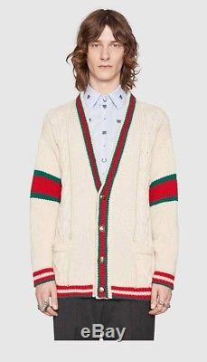 Gucci Cardigan XL Web Cable Knit Wool (Italy) (Taking down May 8th)
