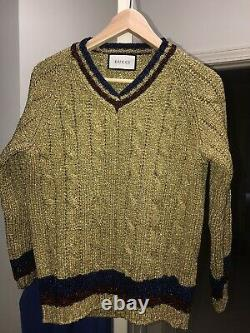 Gucci Metallic Cable-Knit V-Neck Sweater US SZ S