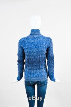 Gucci NWOT $1150 Blue Mohair Silk Wool Cable Knit LS Turtleneck Sweater Top SZ M
