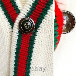 Gucci Oversize Cable Knit Cardigan Wool Signature Striped Webbing Sweater