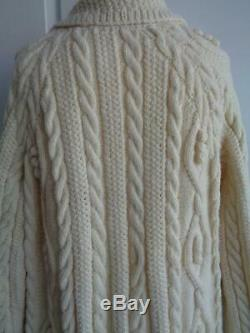HAND KNITTED vintage ARAN cable & bobble CARDIGAN COAT COATIGAN hippy boho L/XL