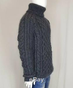Hand Knit MOHAR WOOL Pullover Men Sweater Turtleneck SOFT fuzzy cable Jumper