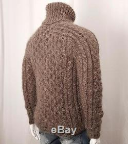 Hand Knit MOHAR WOOL Pullover Men Sweater Turtleneck SOFT fuzzy cable Jumper L
