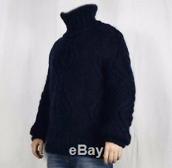 Hand Knit Mohair WOOL Pullover Men Sweater Turtleneck SOFT fuzzy cable Jumper