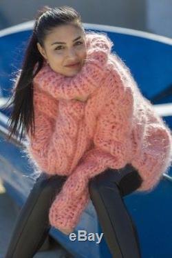 Hand Knit Thick 10 strands Cables Mohair Turtleneck Sweater, Fluffy Jumper T569