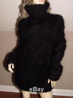 Hand Knitted Cable Knit Mohair Luxurious Turtleneck Sweater Coat S/m