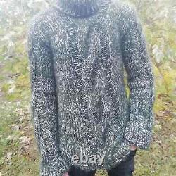 Hand Knitted Mohair Wool Men's Turtleneck Sweater Hairy Fuzzy Warm Loose Jumper