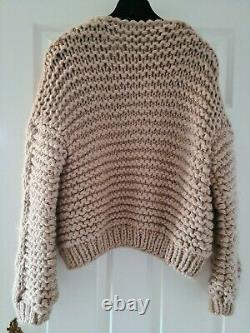 Handmade Wool Chunky Cable Knit Jacket Sweater Cardigan Bomber not Mr Mittens