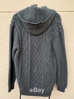 INIS MEAIN GRAY CASHMERE BLEND CHUNKY CABLE KNIT SWEATER With HOOD SZ L