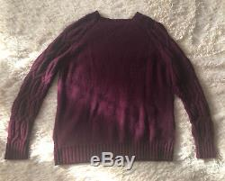 ISABEL MARANT 540$ Burgundy Merino Wool Cashmere Chunky Cable Knit Sweater 2 M