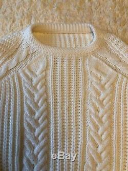 ISABEL MARANT 780$ cashmere white ivory chunky cable knit crew neck jumper S