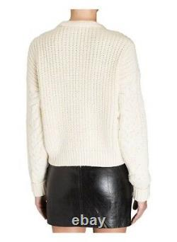 ISABEL MARANT 780$ cashmere white ivory chunky cable knit crew neck sweater S