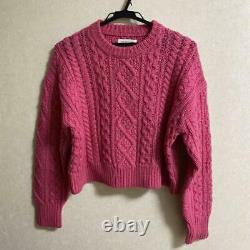 ISABEL MARANT cable knit sweater tops long sleeve pink 100% wool size 36 #M4042