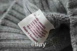 Incredible Drakes Made in Scotland Lambswool Cable Knit Jumper Cool Grey Size S