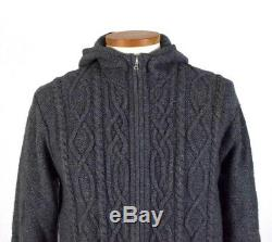 Inis Meain Gray Cashmere Wool Cable Knit Sweater Zip Hoodie Pub Jacket Hood Sz M