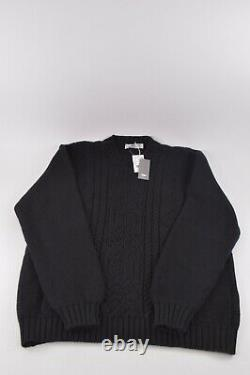 Inis Meain NWT Crew Neck Sweater Size L In Black Chunky Cable Knit Wool