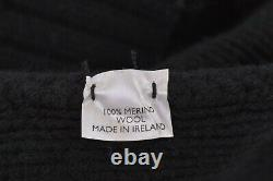 Inis Meain NWT Crew Neck Sweater Size XL In Black Chunky Cable Knit Wool
